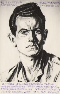 """Na uranu, září 1955, tábor """"Bytíz"""" u Příbrami, maloval spoluvězeň Tonda Němec"""