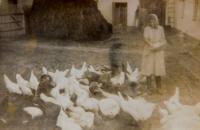 Mother Kateřina Drozdová on the farm in Úvalno
