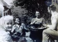 Marie Čuboková on left during a visit to her homeland in 1973