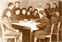Warfront nurses in the nursing school in the Central Military Hospital in Prague after the war. Cecílie 2nd from left.