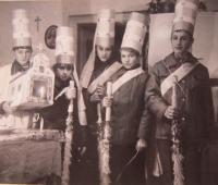 Carolers in Chrastice December 24, 1974