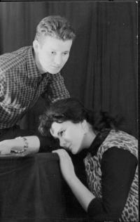 Klub-S Liberec. Rudolf Felzmann s Vlastou Šulcovou v pásmu poezie. E.A. Poe: Havran (cca 1966)