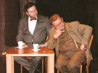 Městské divadlo Děčín. Večer přátel divadla. Rudolf Felzmann při besedě s novým ředitelem Jiřím Trnkou (2010)