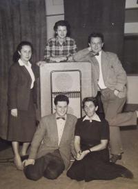 Vaclav Danek with colleagues in Czechoslowak Radio