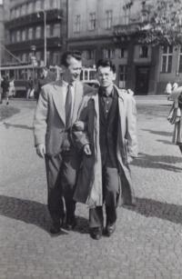 Vaclav Danek with Tartar linguist Salil Mahmudovem (?), half of 50's in Prague