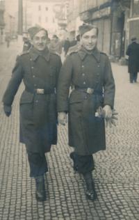 With friend in November 1945, Prague