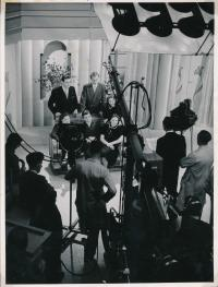 Czech Students Interviewed at a TV Studio in Great Britain (in the First Row: Hana Zadáková, Zdeněk Bárta, Olga Raisová, in the Second Row: Karel Eisner, (?) Cekota, Soňa Fišerová)