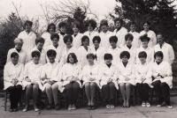Prior to graduation, Miriam in upper row third from the left
