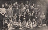 With classmates i Jablonec n/N, 1939 - 40 (Josef Tvrzník in the third row - third from the right, in a black waistcoat)