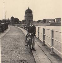 Josef Tvrzník at the Jablonec dam, 1945