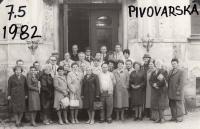 School reunion in 1982 (Josef Tvrzník in the top row - totally left wearing a hat)