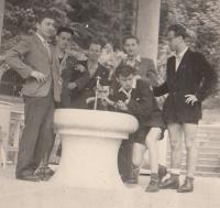 With classmates in Banská Bystrica (Slovakia), 1948 (Josef Tvrzník on the right - in a knee bend position)