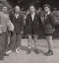 With classmates in Banská Bystrica (Slovakia), 1948 (Josef Tvrzník the first on the right)