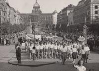High school sport games, Prague 1948 (Josef Tvrzník in the first group of people)