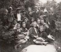 At a school trip to Luční Bouda in 1943 (Josef Tvrzník in the top row - second from the left)