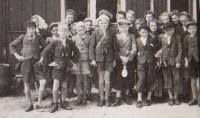 At school trip to Luční Bouda in 1943 (Josef Tvrzník in the first row - third from the left)