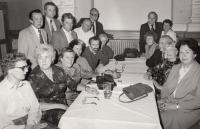 At school reunion, around 1990 (Josef Tvrzník sitting at the table on the left)