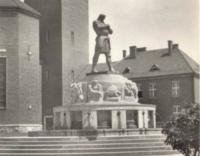 The statue of knight Rüdiger in Jablonec n.N. in 1930s
