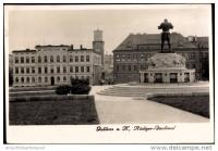 The statue of knight Rüdiger in Jablonec n.N. (1930s, view of the city centre)