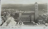 Church of the Biggest Heart of Jesus on the Upper square in Jablonec n.N. (1930s - notice the statue of the knight Rudiger up front)