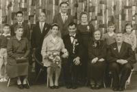 Wedding brother Fratiška Stark. Standing third from right Ludmila Uhlirova. Seated left parents Anthony and Emily Stark.