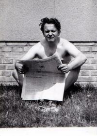 At Roztoky in front of his house, about 1954