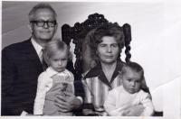 With his wife and granddaughters Petra and Pavla, photographic studio, 1976