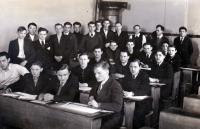 At school, S.Čáslavka in the 3rd bench in the middle, Prague 1939