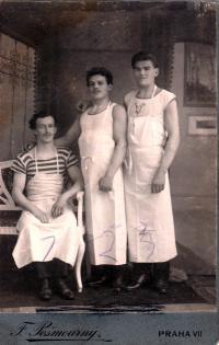 His father Josef Čáslavka as a baker in an apron, Prague 7, 1922
