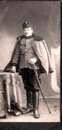 His father Josef Časlavka as a dragoon in WWI, 1917