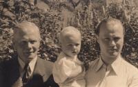 Grandfather Metoděj Kolda, Jiří, father Miroslav Kolda (from the left); September 1943