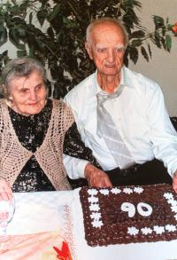 Koloman Hamar celebrating his 90th birthday with his wife (2012)