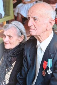 Koloman Hamar with his wife, celebrating his 90th birthday, being awarded the Slovak Minister of Defence Medal of III. degree, and the War veteran badge