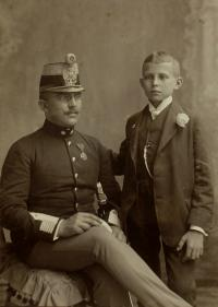 A witness with his father Alfred on the confirmation day, South-Bohemian region in 1941