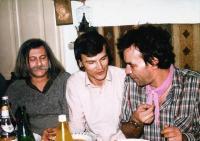 Sandor Racz 50th birthday, 1983. March 17., Miklós Szabó, Gábor Demszky and László Rajk