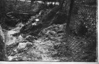 Tha fall of shell into Bouda´s family garden in Livotel in 1945