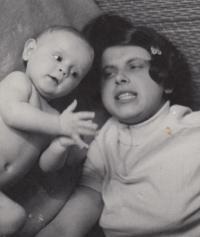 David Kabzan with his mother, 1970