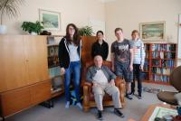 With pupils during the project recording Stories of Our Neighbours