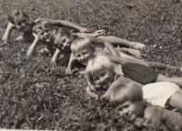 Hana and Eva with their cousins 1938 Horní čermná holiday