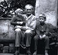 the Grandpa with his grandchildren Pavel and Petra