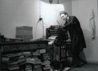 Zdeněk Hříbal in a Duplicating Room at a University