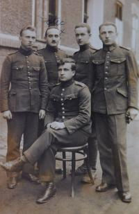 Father Arnold Fischer (marked with a cross) in the Czechoslovak Army