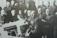 Officers of the ranger regiment nr. 6 with family members, father Ivan Horáček up in the middle