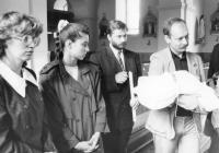 Baptism of the eldest daughter in September 1990 in Vendryně. From left: wife Ursula, Renata Górecka-Miss Czechoslovakia, Mirek Jasiński-attaché of the Embassy of the Republic of Poland