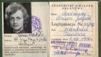 Member card of AZS (Academic Zwiazek sportowy - Academic Sports Association)