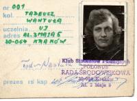 Member card of Polonus (club of Polish students)