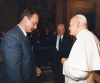 Tadeusz Wantuła meeting Pope John Paul II. in 1990 in Poland