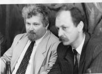 Tadeusz Wantuła during the visit of Petr Pithart in Třinec, Český Těšín and Bystřice in 1991 or 1992
