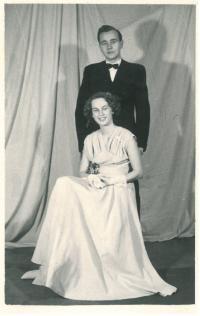 The witness with Dimitrij, her future husband, at the maturita ball, Prague, 1954