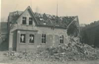 Granny Marie Hnitková´s house after the air raid, Kralupy on Vltava, March 1945